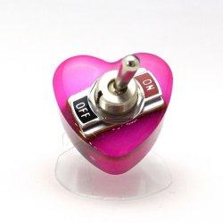 画像2: ハート形ヤル気スイッチリング(mini) ピンク 電子部品アクセサリー