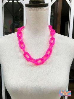 画像1: New Wave Punk チェーン ネックレス (Pink)