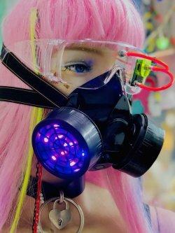 画像1: LEDガスマスク(リモコン点灯タイプ)  木村花着用